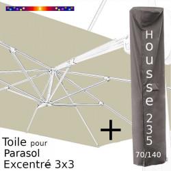 Pack : Toile Soie Grège pour parasol Déporté 3x3 + Housse 235x70/140