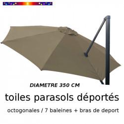 Toile de remplacement OCTOGONALE 350 CM pour Parasol EXCENTRE Biscarrosse Couleur Taupe