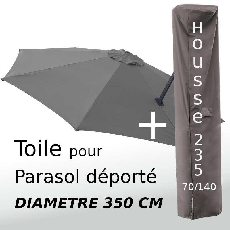 Pack : Toile Gris Souris pour parasol Déporté 350/8 + Housse 235x70/140