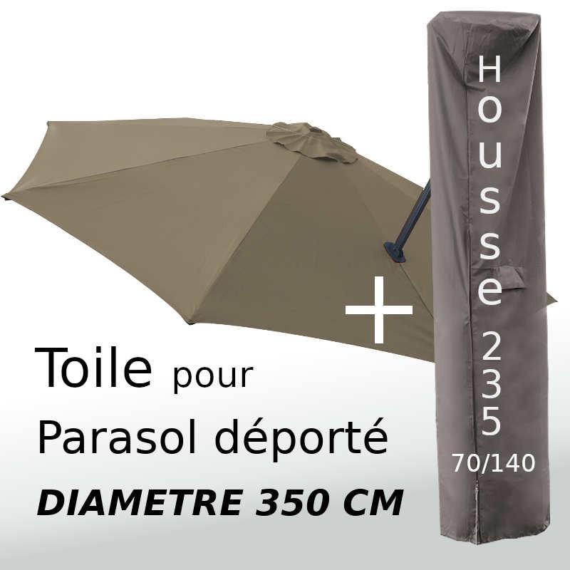 Pack : Toile Taupe pour parasol Déporté 350/8 + Housse 235x70/140