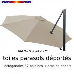 Toile de remplacement OCTOGONALE 350 CM pour Parasol EXCENTRE Biscarrosse Couleur Soie Grège