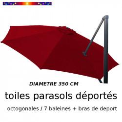 Toile de remplacement OCTOGONALE 350 CM pour Parasol EXCENTRE Biscarrosse Couleur BORDEAUX