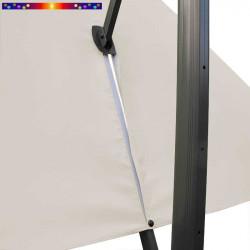Toile de remplacement 3x3 pour Parasol Excentré Biscarrosse Soie Greige : vue du zip de la toile pour mise en place sur le mât