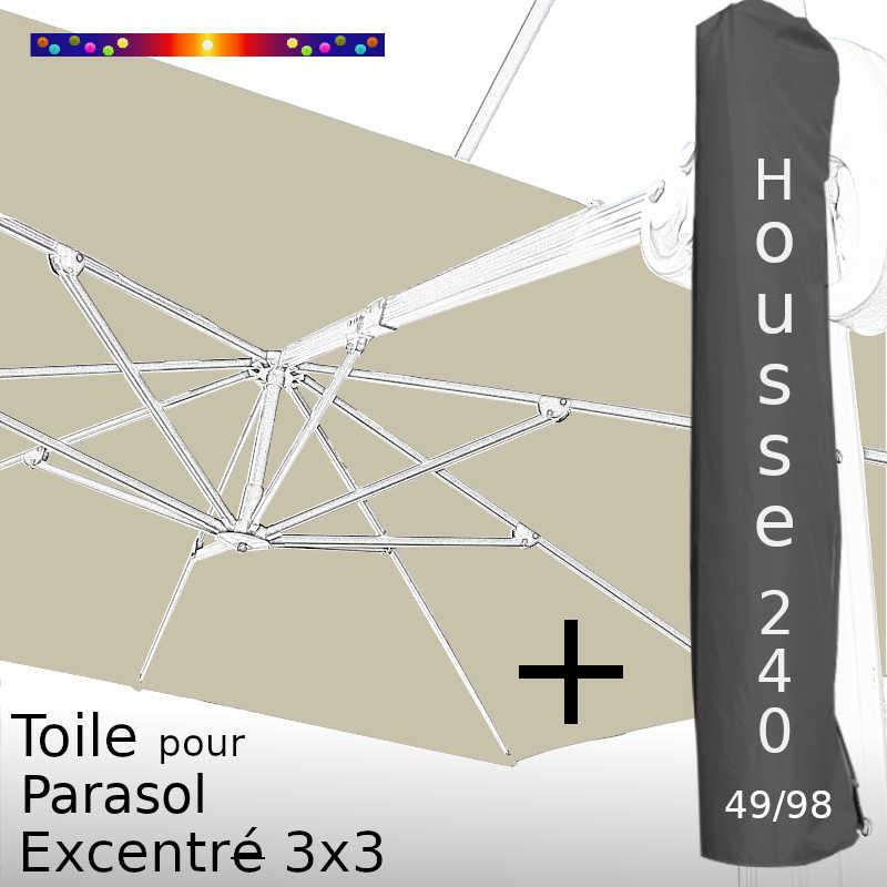 Pack : Toile Soie Grège pour Parasol Déporté 3x3 + Housse 240x49/98