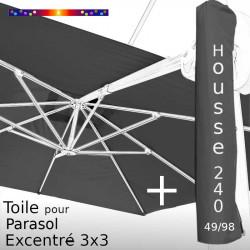 Pack : Toile Gris Souris pour Parasol Déporté 3x3 + Housse 240x49/98