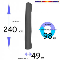 Housse pour parasol 240 cm x Largeur 49 cm (mesures de la housse à plat ) : dimensions