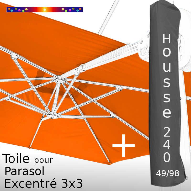 Pack : Toile Orange pour Parasol Déporté 3x3 + Housse 240x49/98