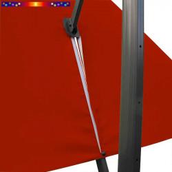 Toile 3x3 pour Parasol déporté Biscarrosse Rouge Terracotta : vue du zip de la toile pour mise en place sur le mât