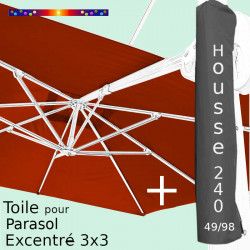Pack : Toile Terracotta pour parasol Déporté 3x3 + Housse 240x49/98