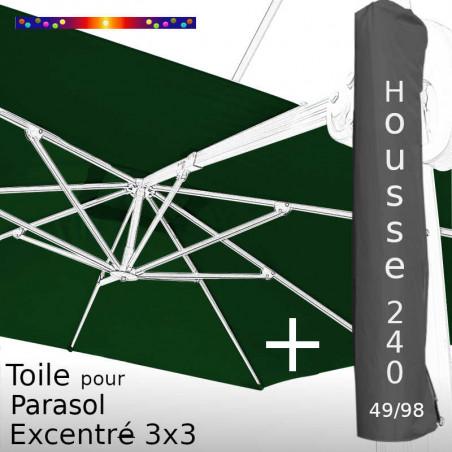 Pack : Toile Vert Pinède pour Parasol Déporté 3x3 + Housse 240x49/98