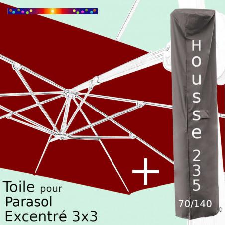 Pack : Toile Bordeaux pour Parasol Déporté 3x3 + Housse 235x70/140