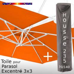 Pack : Toile Soie Orange pour Parasol Déporté 3x3 + Housse 235x70/140