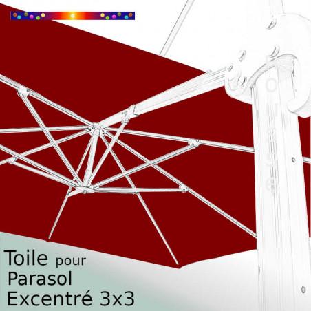 Toile Rouge Bordeaux CARREE 3x3 pour Parasol Déporté