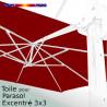 Toile Rouge Bordeaux CARREE 3x3 pour Parasol Déporté Biscarrosse