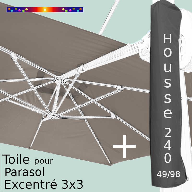 Pack : Toile Taupe pour Parasol Déporté 3x3 + Housse 240x49/98