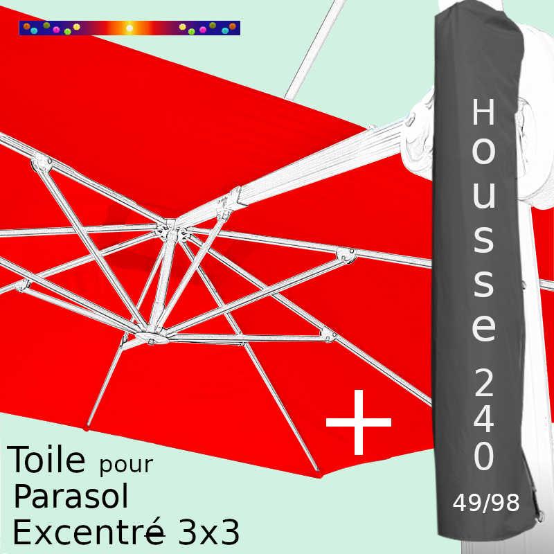 Pack : Toile Rouge pour Parasol Déporté 3x3 + Housse 240x49/98