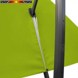 Toile 3x3 pour Parasol déporté Vert Anis : vue du zip de la toile pour mise en place sur le mât
