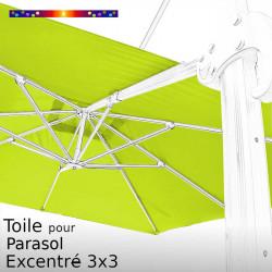 Toile CARREE 3x3 Excentrée Vert Lime pour remplacement sur Parasol Déporté Biscarrosse