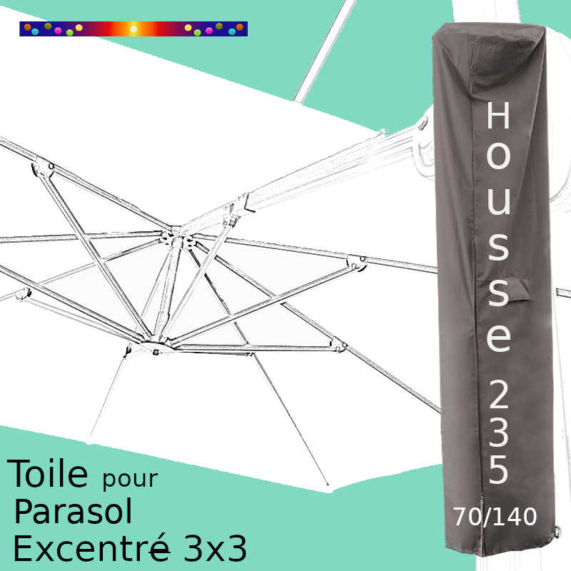 Pack : Toile Blanc Jasmin pour parasol Déporté 3x3 + Housse 235x70/140