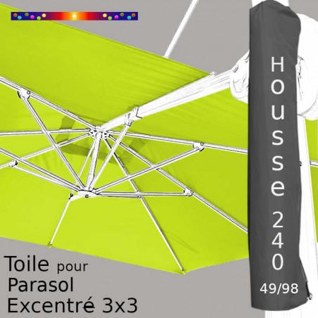 Pack : Toile Vert Lime pour parasol Déporté 3x3 + Housse 240x49/98