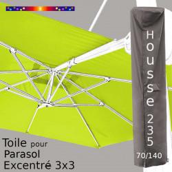 Pack : Toile Blanc Lemon pour parasol Déporté 3x3 + Housse 235x70/140