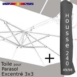 Pack : Toile Blanc Jasmin pour parasol Déporté 3x3 + Housse 240x49/98