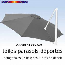 Toile de remplacement OCTOGONALE 350 CM pour Parasol EXCENTRE Biscarrosse Couleur GRIS Souris