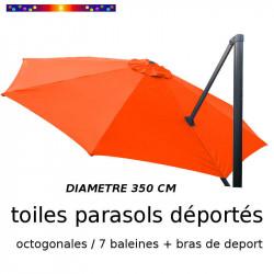 Toile de remplacement OCTOGONALE 350 CM pour Parasol EXCENTRE Biscarrosse Couleur Orange
