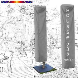 Housse Hauteur 235 cm x Largeur 70/140 cm sur parasol déporté 3x3