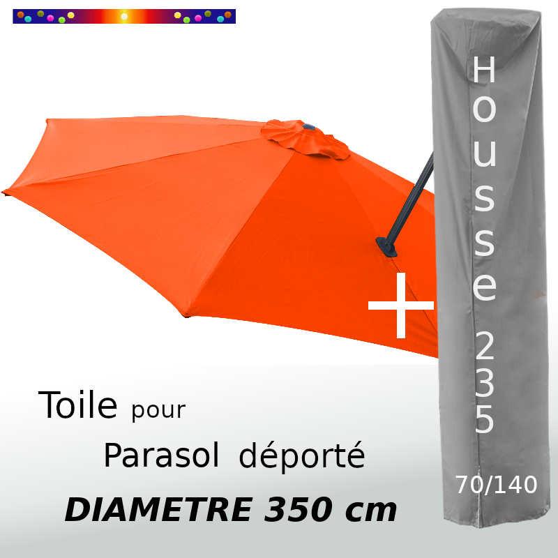 Pack : Toile Orange pour parasol Déporté 350/8 + Housse 235x70/140
