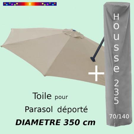 Pack : Toile Soie Grège pour parasol Déporté 350/8 + Housse 235x70/140