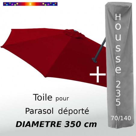 Pack : Toile Rouge Bordeaux pour parasol Déporté 350/8 + Housse 235x70/140