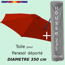 Pack : Toile Terracotta pour parasol Déporté 350/8 + Housse 235x70/140