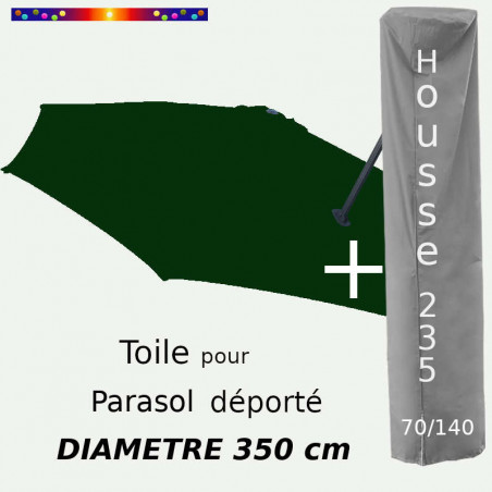 Pack : Toile Vert Pinède pour parasol Déporté 350/8 + Housse 235x70/140