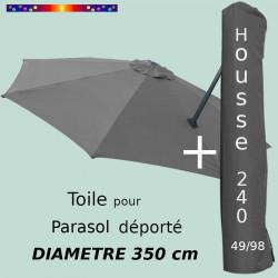 Pack : Toile Gris Souris pour parasol Déporté 350/8 + Housse 240x49/98