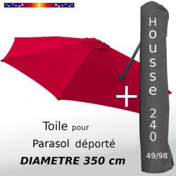 Pack : Toile Rouge Coquelicot pour parasol Déporté 350/8 + Housse 240x49/98