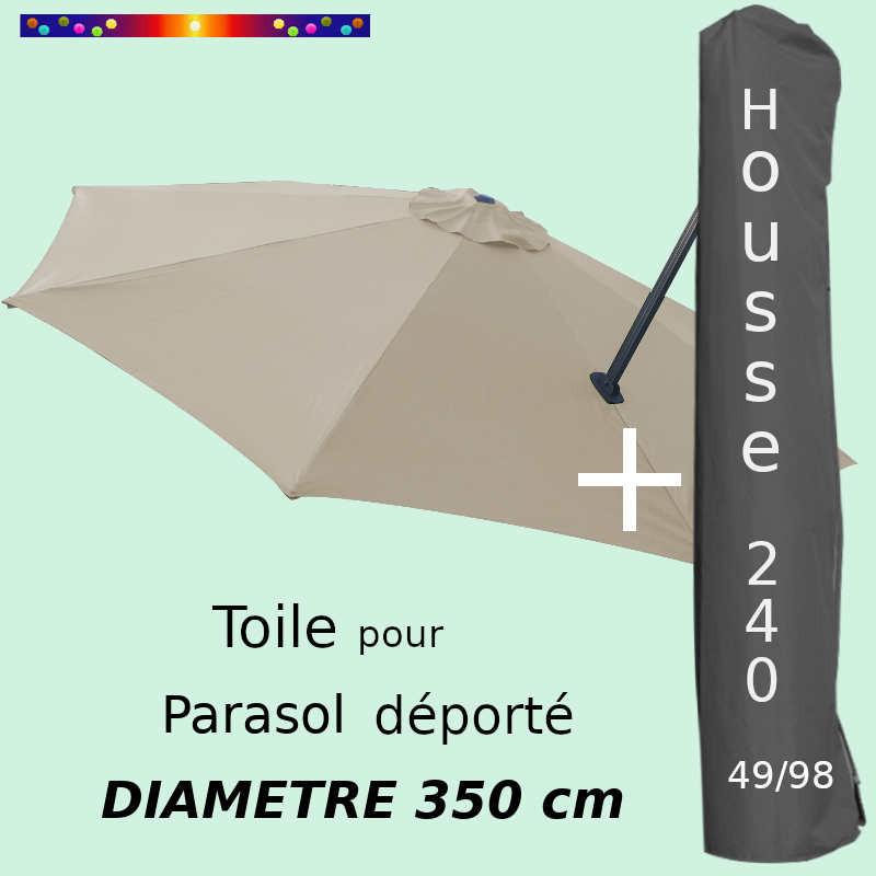 Pack : Toile Soie Grège pour parasol Déporté 350/8 + Housse 240x49/98