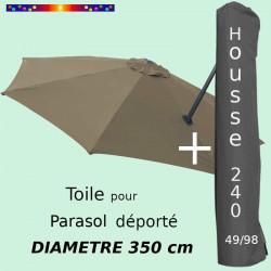 Pack : Toile Taupe pour parasol Déporté 350/8 + Housse 240x49/98