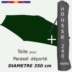 Pack : Toile Vert Pinède pour parasol Déporté 350/8 + Housse 240x49/98