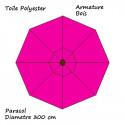 Parasol Rose Fushia 300 cm