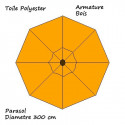 Parasol Lacanau Orange 300 cm Bois : descriptif