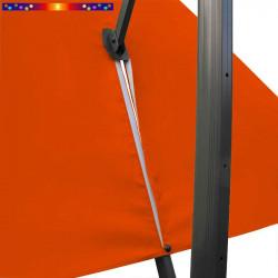 Toile 3x3 pour Parasol Biscarrosse Orange : vue du zip de la toile pour mise en place sur le mât