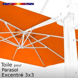 Toile Orange Capucine CARREE 3x3 pour Parasol Déporté