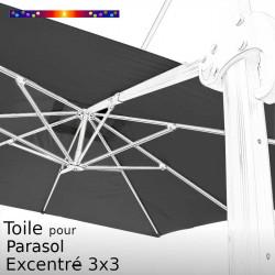 Toile CARREE 3x3 Excentrée Gris Souris pour remplacement du Parasol Déporté Biscarrosse