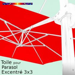 Toile CARREE 3x3 Excentrée Rouge Coquelicot pour remplacement sur Parasol Déporté Biscarrosse