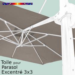 Toile Taupe CARREE 3x3 pour Parasol Déporté Biscarosse