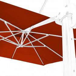 Toile 3x3 pour Parasol déporté Biscarrosse Rouge Terracotta : vue de la toile sur l'armature