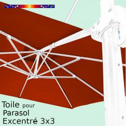Toile Terracotta CARREE 3x3 pour Parasol Déporté