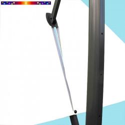 Toile de remplacement 3x3 pour Parasol Excentré Biscarrosse Blanc Jasmin : vue du zip de la toile pour mise en place sur le mât