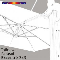 Toile Blanc Jasmin CARREE 3x3 pour Parasol Déporté